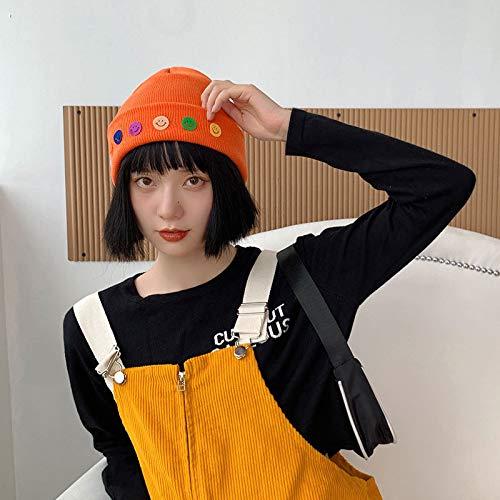 Versin Coreana del Sombrero Sombrero de Punto clido Sombrero de Lana Sonriente de Color Sombrero fro