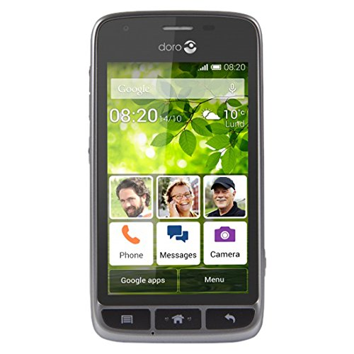 "Doro Liberto 820 Mini - 3G Smartphone (4"" Touchscreen, 5 MP Kamera, GPS, Bluetooth 4.0, WiFi, Android 4.4) stahl/schwarz"