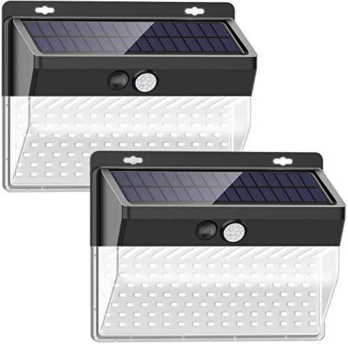 Luz Solar de Exterior, TBONEEY 2 Paquetes Luces Solares 206 LED/ 3 Modos Lámpara Solar Exterior IP65 Impermeable Gran Ángulo 270º Solar Luz LED Iluminación Exterior con Sensor de Movimiento para Jardín, Patio, Terraza, Camino
