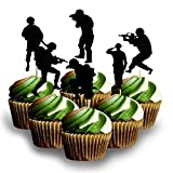Soldier Cup Cake Topper Decoration Card Stock Color Black 12 PC Material Card Stock Card Stock 12pc soldier military cup cake top´per Theme Party military Do not use in ovens,
