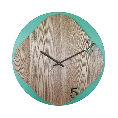 Rebecca Mobili Scandinavische wandklok voor decoratie, groen, hout, analoog, voor woonkamer, kinderkamer – afmetingen: Ø 40 cm x L 5 cm – art. RE6240.