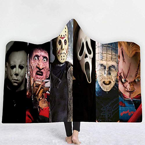 ALZERO Hooded Blanket, Horror Mysterious Character Hooded Blanket for Adult Gothic Sherpa Fleece Wearable Throw Blanket Microfiber Bedding (59x51inch, E)