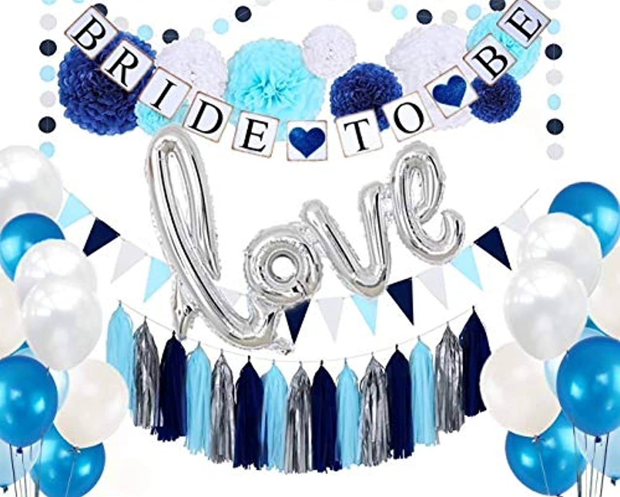 DOYOLLA Navy Bridal Shower Decorations Kit 53pcs - Tissue Paper Flowers, Navy Bride to Be Banner, Balloons, Triangle Bunting, Tassel Garland for Nautical Fishing Theme Wedding Party Decor