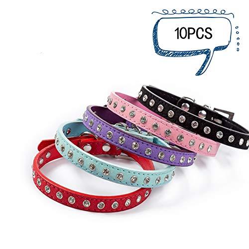 Sevenshop Strass-Haustierhalsband Glänzende Reihe von Diamant-Hundehalsbändern Mikrofaser-weicher und komfortabler Katzenring - Schwarz - XXS