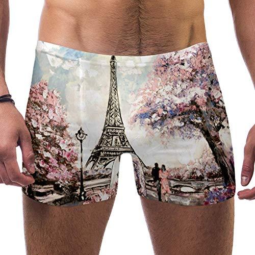 Lorvies Paris Eiffelturm Malerei Herren Schwimmhose Boxershorts kurz quadratisch Bein Badeanzug schnell trocknend Bademode, Größe S Gr. M, multi