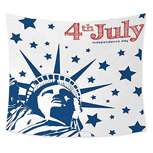 jecycleus 4th of July Grateful Dead Tapestry Silhouette of Statue of Liberty Stars Independence Illustration Tapestry for Rome Decor W80 x L60 Inch Red White and Navy Blue