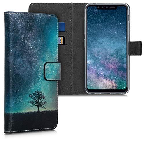 kwmobile Wallet Hülle kompatibel mit LG G8s ThinQ - Hülle mit Ständer Kartenfächer Galaxie Baum Wiese Blau Grau Schwarz