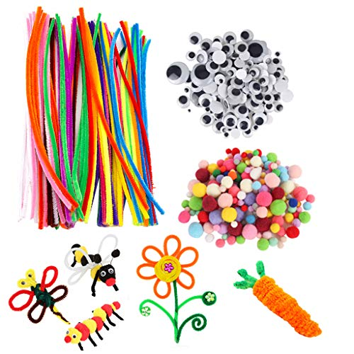 WANGYUMI 500pcs DIY Activities Pipe Cleaners Ornament Making School Projects Googly Eyes