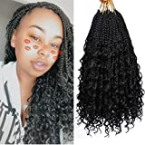 8 Packs Box Braids Crochet Hair With Curly Ends Goddess Box Braids Crochet Braids 3X Bohemian Braiding Hair for Black Women(12 Inch, 1B)…
