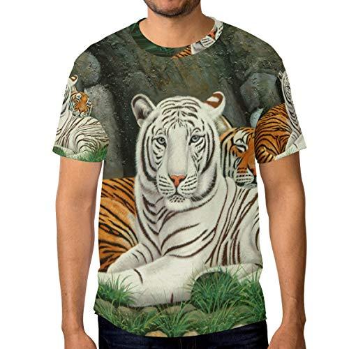 FANTAZIO - Camiseta de Manga Corta con Cuello Redondo para Hombre, dis