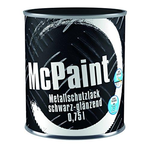 McPaint Metallschutzlack für innen und außen, glänzend, wasserverdünnbar, schwarz, 0,75 L