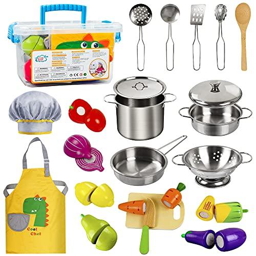 EFO SHM Accessoire Cuisine en Bois Enfant Jouets Fruits et Légumes à Découper Ustensile Accessoire Jeux de Cuisine pour les Enfants de plus de 3 Ans