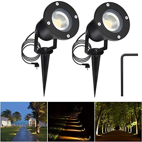 2er 5W LED GU10 Gartensrtahler LED Strahler mit Erdspieß AC85-265V mit 1,5M Kabel Wasserdicht Lampe Außen Warmweiß 3000K Rund für Wegbeleuchtung für Garten Terrasse Treppen Garage