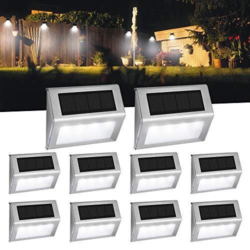 Luces Solares para Exterior Jardín 4LED Easternstar, Lámparas Solares impermeable IP44 Exterior, Solar Panel del acero inoxidable, 4 LED Ilumina a las escaleras, pared,patio y jardín etc.(10 unidades)