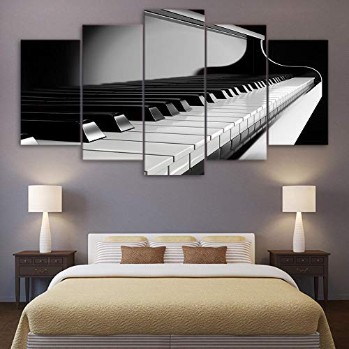 SSOOB Home Art marco de madera lienzo pared arte impresiones mural music hall piano blanco y negro 100x50 CM 5 Lienzos Handart Cuadro En Lienzo Cinco Partes Hd Clásico Óleo Impresiones Decorativas Car
