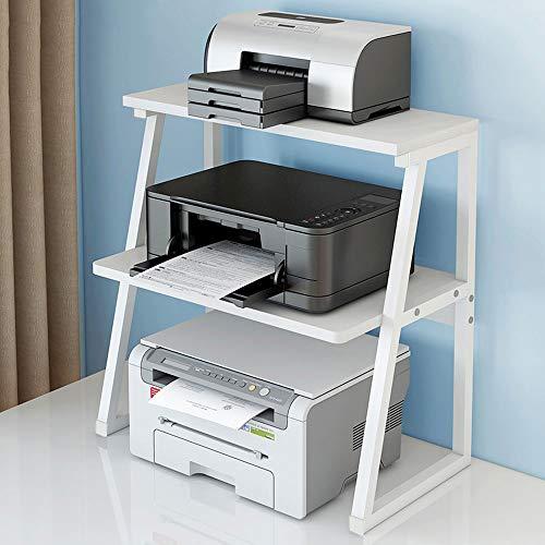GRTBNH Unter Schreibtischdruckerständer, hölzerner Druckertisch mit stabilem Metallrahmen, Organizer für Büro- / Schularbeitsplätze für Kopierer-Faxgeräte,Weiß