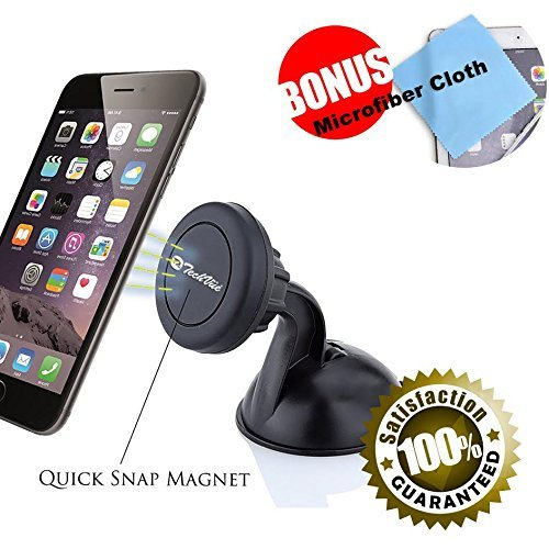 Magnetic Phone Mount Cell Phone Holder Dashboard Mount + Plates Super Strong Suction Cup for All Smartphones iPhones Samsung Galaxy, HTC etc iPhone X, 8, 7, 6, 6S, Galaxy S8 S7 S7 Edge (Renewed)