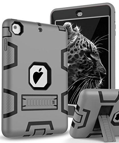 Topsky 2877893 Shock-Absorption Three Layer Armor Defender Full Body Protective Case for iPad Mini, Mini 2 , Mini 3, Mini Retina - Grey Black