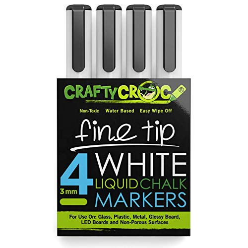 Crafty Croc Fine Tip Chalk Markers - (Precise 3mm Tip, 4 White) - Erasable Dustless Liquid Chalk Ink Pens, Water-Based, Non-Toxic
