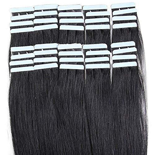 Rich Choices 55cm Extension Adesive Capelli Veri 40 fasce Extension Capelli Umani Biadesive 100g/set Remy Hair Capelli Lisci, 1 Nero