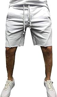 GAGA Men Summer Elastic Waist Drawstring Solid Color Running Athletic Shorts