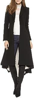 LINGMIN Women's Slim Long Dovetail Trench Coat Woolen Asymmetrical Swallowtail Coat