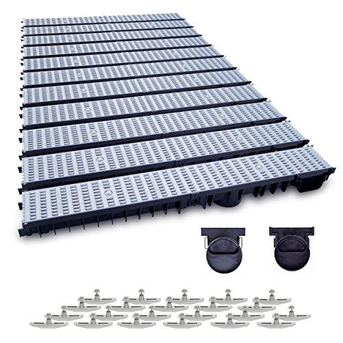 11m Entwässerungsrinne mit Dichtung Belastungsklasse B125. Stegrost Kunststoff Grau. Tiefe: 100mm