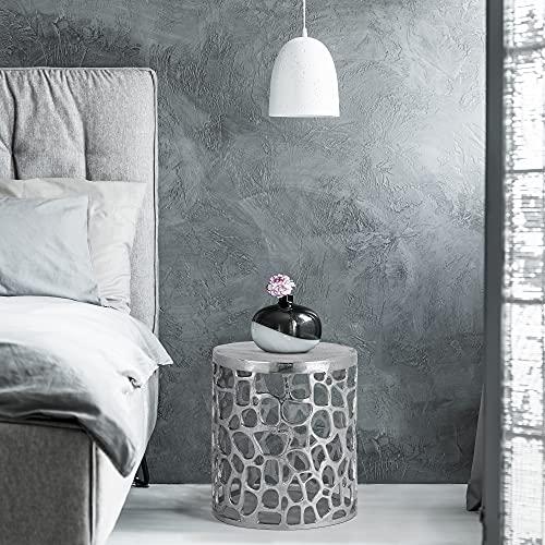 WOMO-DESIGN Mesa Auxiliar Moderna Olymp Ø 36x40 cm (DxAl) Redonda Plata Brillante Aluminio con Recubrimiento de Níquel Diseño Oriental Mesita de Centro Café Decorativa de Hogar Mueble Atemporal