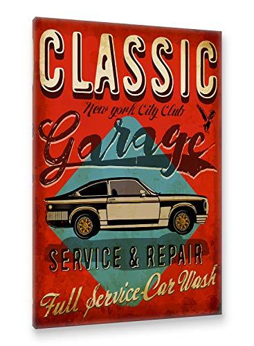 Postereck - Premium Leinwand - 2037 - Vintage Plakat, Auto Schild Retro alt Werkstatt Wagen - Größe 75,0 cm x 50,0 cm