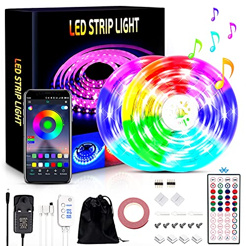 LED Strip Lights 15M Music Sync Color Changing with Remote & APP, Ultra-Long String Light RGB Built-in Mic DIY Decoration 32.8ft SMD 5050 Stick-on LED Lights for Ceiling Bedroom TV Party Home