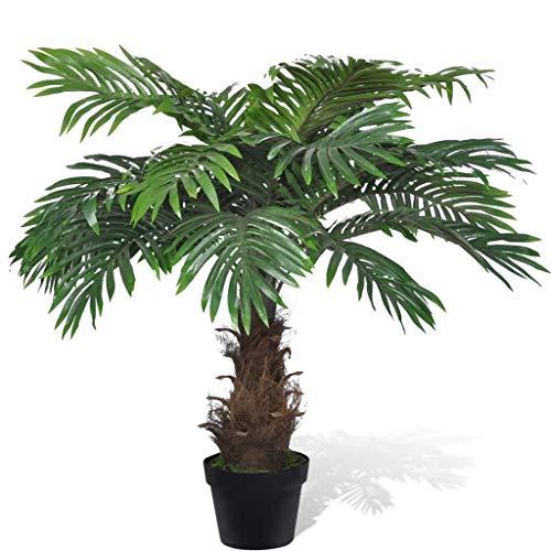 UnfadeMemory Palmera Cycus de Aspecto Natural,Planta Artificial Decorativa,Decoración de Hogar Oficina,con Macetero,Altura 80cm,Tronco de Bambú