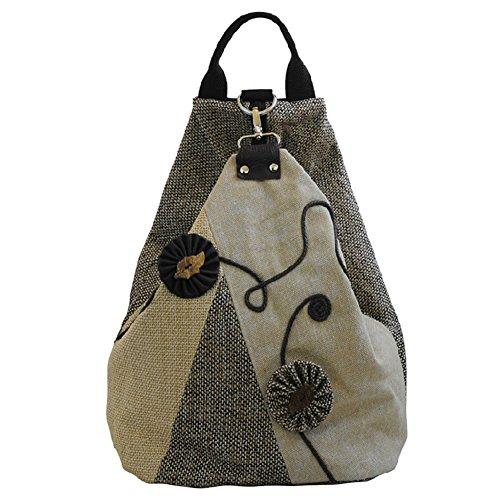 Owbb Bohemian Handgewebte Drucken Damen Mädchen Cotton+Leinen Beige Reise Rucksack Daypacks Reisetasche (Größe:37x32x19cm)(MZ-A-16) +2 gratis Geschenke