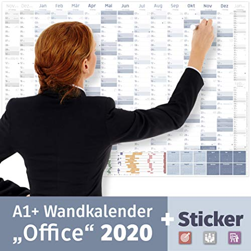 Wandkalender 2020, A1+ (89x63 cm) | 228 Sticker für Projekte, Meetings & Co. | 16 Monate: Nov'19-Jan'21 | Wandplaner gefalzt für Office, Büro, Teams | Ferienübersicht, Feiertage, Quartale akzentuiert