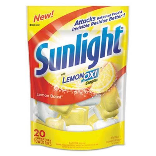 Sunlight CB711021 Auto Dish Power Pacs, Lemon Scent, 1.5 Oz Single Dose Pouches, 20/pack