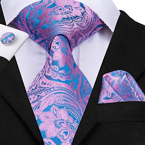 WOXHY Herren Krawatte Krawatte Herren Seidenkrawatte New Paisley Floral Krawatten für Herren Pink Blue Classic Hochzeitsanzug Krawatte Einstecktuch Set Krawatten Sn-3064