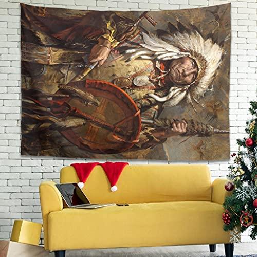 Wandlovers Zigeuner Indian Koch Speerschild Wandhänger Tapisseriseriserie, Tapiz multicolor Wanddekor Mantel blanco 150x130 cm