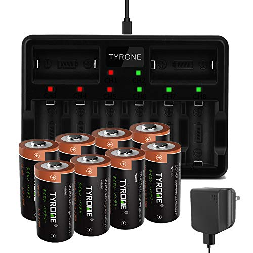 Arlo Rechargeable Batteries, Tyrone CR123A Lithium Batteries Rechargeable for Arlo Wireless Cameras [ 8-Pack More Than 700mAh 3.7V Batteries with 8-Ports Smart Charger ] (8 Pack)