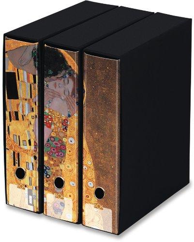KAOS Ringbuch mit Schuber - 3er Packung - Format A4-2 Ringe - Rückenbreite 8 cm -Bild: DER KUSS, GUSTAV KLIMT - Packung-Größe: 26.8x35x29 cm