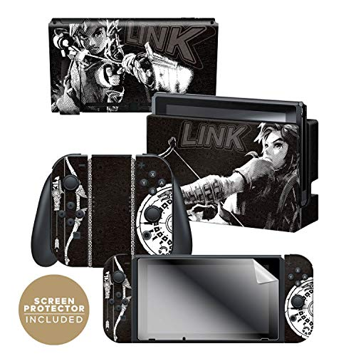 """Controller Gear Officially Licensed Nintendo Switch Skin & Screen Protector Set - The Legend of Zelda: Breath of The Wild - """"Link Half Tone"""" - Nintendo Switch"""