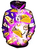 Casual Hoodie, RAISEVERNUnisex Lustige 3D Gedruckte Drawstring Katze Gesicht Katzen Hamburger Pizzas Grafik Hoodies Pullover Sweatshirts Kangaroo Tasche mit Velvet Plus Futter