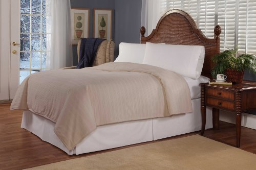 Soft Heat by Perfect Fit | Ultra Soft Plush Electric Heated Warming Blanket with Safe & Warm, King, Beige