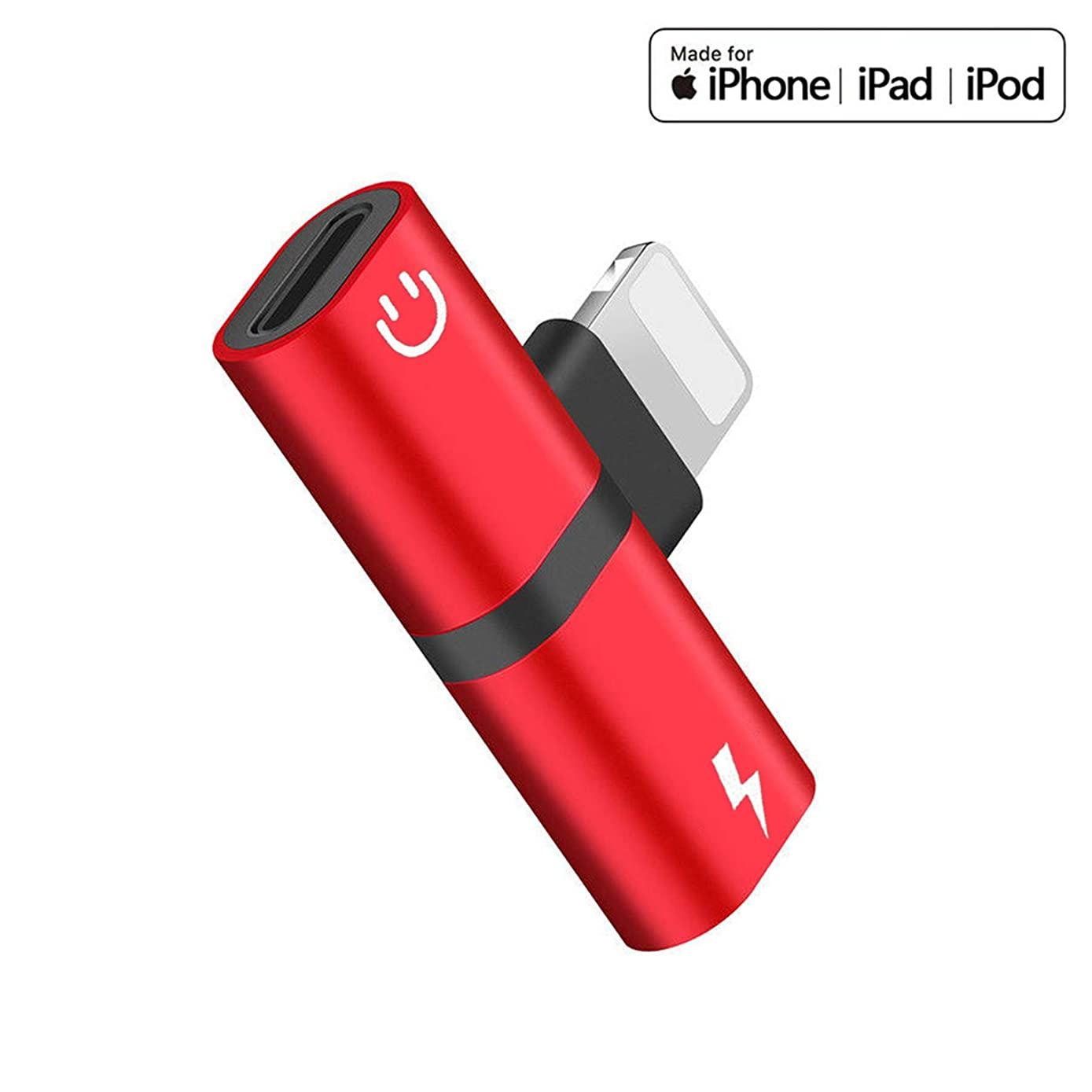 Headphone Adapter for iPhone X/XS/XS MAX/XR/8/8 Plus/7/7 Plus Headset Adaptor Splitter Earphone Connector Convertor 2 in 1 Accessories Car Charger,Cable Connector,Quick Charge Fast Car Adapter,Red
