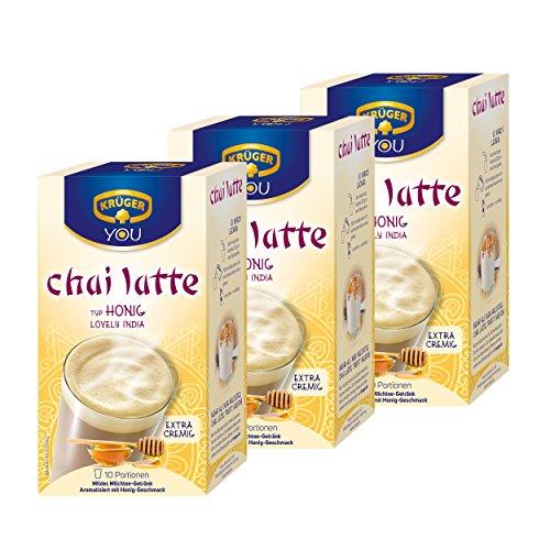 Krüger Chai Latte Lovely India, Honig-Geschmack, mildes Milchtee Getränk, 3er Pack, 3 x 10 Portionsbeutel