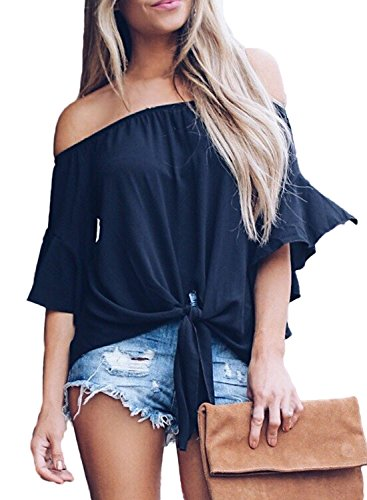 Asvivid Womens Sexy Solid Off The Shoulder Shirt Ruffles Bell Sleeve Tops Summer Flowy Chiffon Vacation Blouses L Black