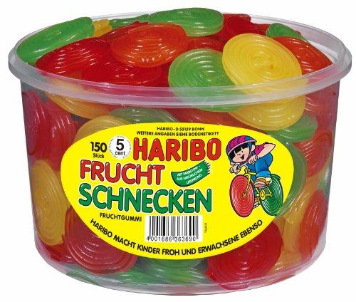 HARIBO - Frucht Schnecken - Fruchtgummi - Weingummi - Box mit 150 Stück
