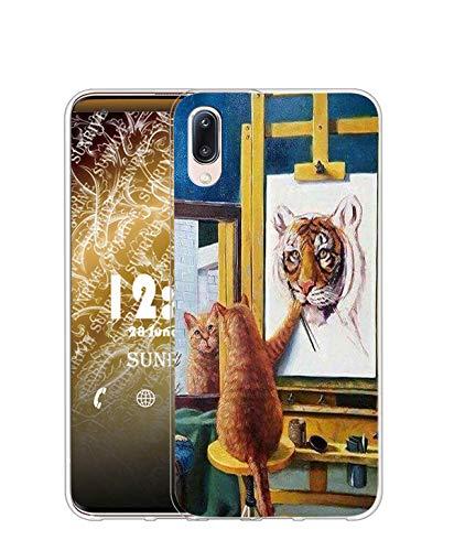 Sunrive Kompatibel mit WIKO VIEW4/VIEW4 LITE Hülle Silikon, Transparent Handyhülle Schutzhülle Etui Hülle (TPU Katze und Tiger)+Gratis Universal Eingabestift MEHRWEG