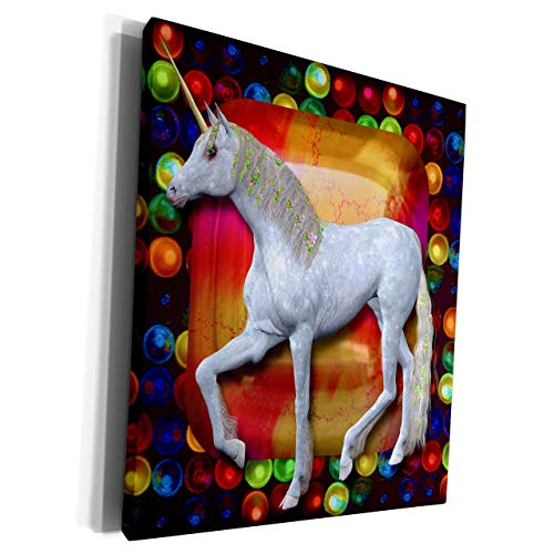 Unframe Canvas Printing Wall Art 20x25 Spiritual Awakenings Fantasy White White Horse With Flowers In Her Mane Pretty Jewel And Colorful Bubbles Background Canvas Art Print Wall Decor for Living Room