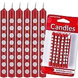 Lot de 12 bougies rouges à pois blancs - Coccinelle - Décoration de table - Rouge à pois