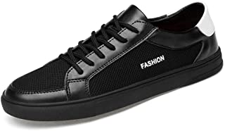 Shangruiqi Fashion Sneaker for Men Sports Shoes Lace Up Style Mesh Material and PU Leather Breathable Lightweight Round Toe Solid Colors Anti-Wear (Color : Black, Size : 5.5 UK)