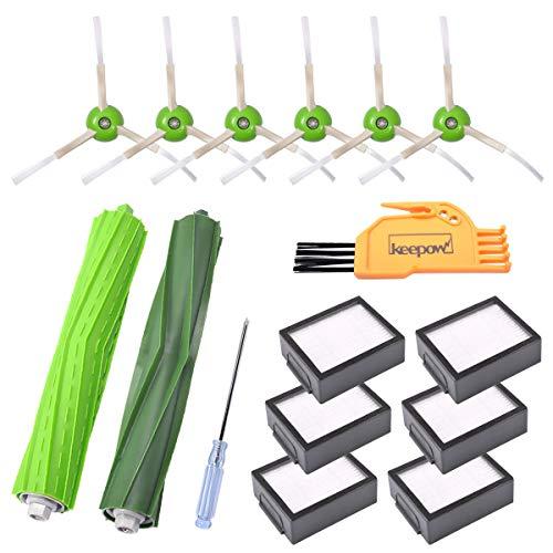 KEEPOW 15 Kit di ricambio da per iRobot Roomba e5154, i7 Aspirapolvere, Kit accessori 1 Set Spazzolino da denti per superfici multiple 6 Filtri 6 Spazzole 1 Cacciavite 1 Spazzola di pulizia